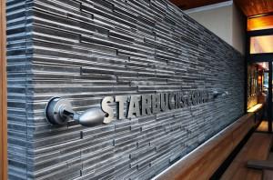 スターバックス淡路SA店(壁材:割り肌ボーダー瓦)